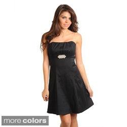 Stanzino Women's Strapless A-Line Evening Dress with Jeweled Waist