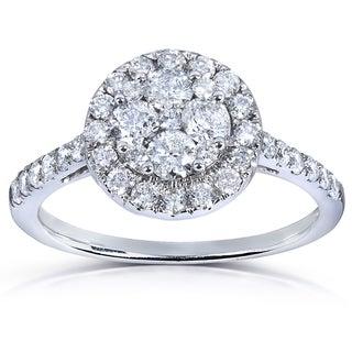 Annello 14k White Gold 1 ct TDW Ladies Diamond Cluster Engagement Ring (H-I, I1-I2)