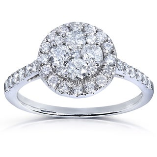 Annello 14k White Gold 1 ct TDW Ladies Diamond Cluster Engagement Ring (H-I, I1-I2)