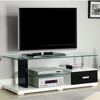 Furniture of America Twisted Vynes Contemporary Black and White Tempered Glass-lacquer Media Console