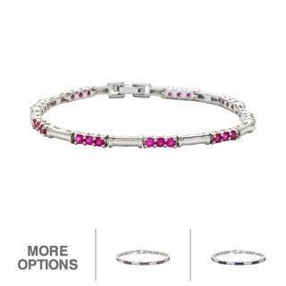 Oravo Sterling Silver Round-cut Gemstone Link Bracelet