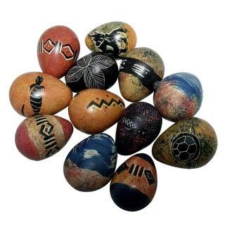 Set of 12 Decorative Colored Soapstone Eggs (Kenya)