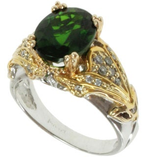 Michael Valitutti 14k Two-tone Gold Chrome Diopside and Diaond Ring