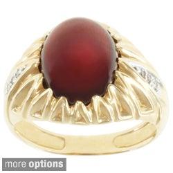 Michael Valitutti Men's 14k Yellow Gold Garnet or Star Sapphire and Diamond Ring