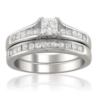 14k White Gold 1 1/2ct TDW Princess-cut Diamond Bridal Ring Set (H-I, SI2)