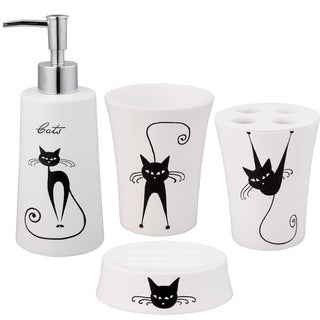Jovi Home Cats Bath Accessory 4-piece Set