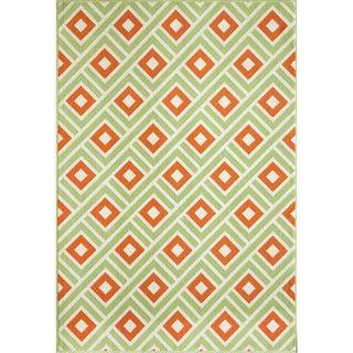 Indoor/ Outdoor Multi Blocks Rug (1'8 x 3'7)