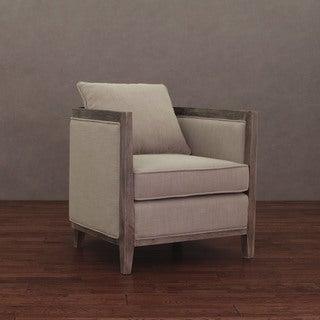 Elliot Beige Linen Lounge Chair