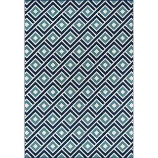 Indoor/ Outdoor Blue Blocks Rug (6'7 x 9'6)