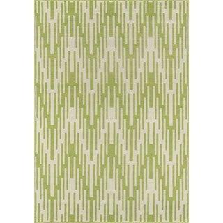 Indoor/ Outdoor Green Ikat Rug (8'6 x 13'0)