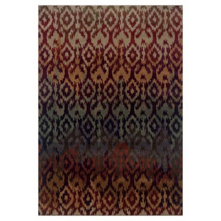 Ikat Design Red/ Multi Area Rug (7'10 x 10'10)