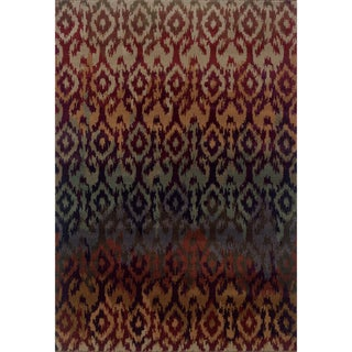 Ikat Red/ Multicolored Area Rug (5'3 x 7'6)