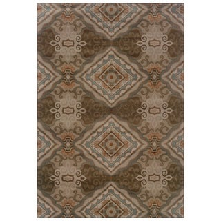 Elegant Diamond Grey/ Brown Area Rug (5'3 x 7'6)