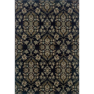 Traditional Floral Navy and Grey Rug (5'3 x 7'6)