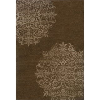 Stamped Medallion Brown/ Stone Area Rug (5'3 x 7'6)