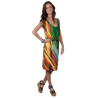 Journee Collection Women's Sleeveless Scoop-Neck Multicolored Dress