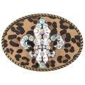 BT Oval Antique-Bronze Finish Fleur-De-Lis Animal-Print Belt Buckle