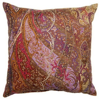 Paisley Silk Purple 19-inch Throw Pillows (Set of 2)