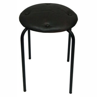 nuLOOM Casual Living Black Leather Bar Stool