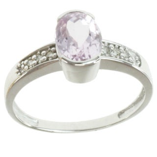 Michael Valitutti 14k White Gold Kunzite and Diamond Ring