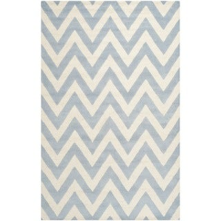 Safavieh Handmade Moroccan Cambridge Chevron Light Blue Wool Rug (9' x 12')