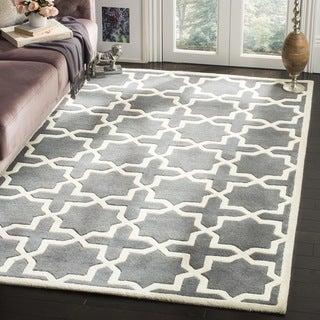 Safavieh Handmade Moroccan Dark Grey Cross Pattern Wool Rug (8'9 Square)