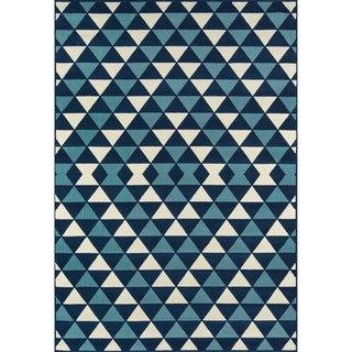 Kaleidoscope Blue Indoor/ Outdoor Rug (7'10 x 10'10)