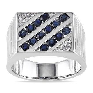 Miadora Sterling Silver Men's 2ct TGW Blue and White Sapphire Ring