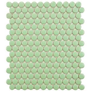 SomerTile 11.5 x 9.875-Inch Victorian Penny Matte Light Green Porcelain Mosaic Tile (Pack of 10)