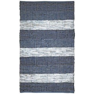 Hand Woven Matador Blue Stripe Leather Rug (9' x 12')