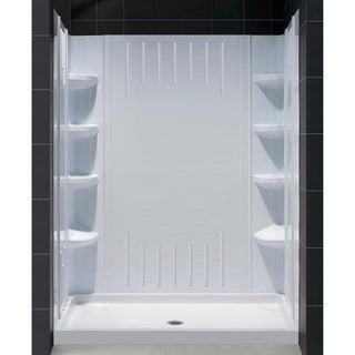 SlimLine Single Threshold Shower Base Center Drain and QWALL-3 Shower Backwalls Kit