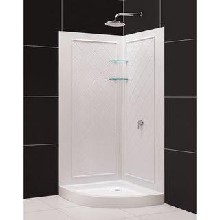 SlimLine Quarter Round Shower Base and QWALL-4 Shower Backwalls Kit