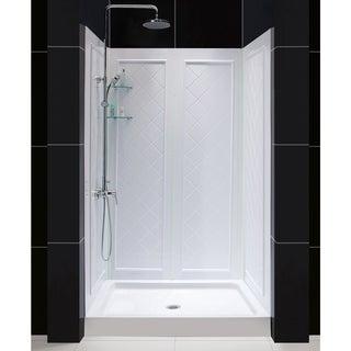 SlimLine Single Threshold White Shower Base and QWALL-5 Shower Backwalls Kit