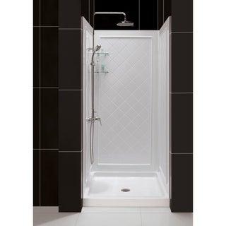 SlimLine Single Threshold Slip-Resistant Shower Base and QWALL-5 Shower Backwalls Kit