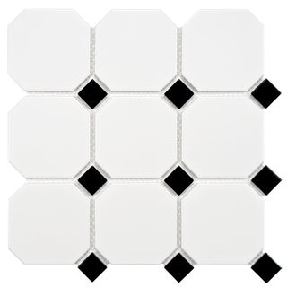 SomerTile 11.625 x 11.625 Victorian Octagon Matte White with Glossy Black Dot Porcelain Mosaic Tiles (Pack of 10)