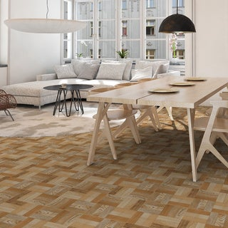 SomerTile 12.5 x 12.5 Cobi Cerezo Wood-Look Ceramic Floor and Wall Tile (Case of 10)