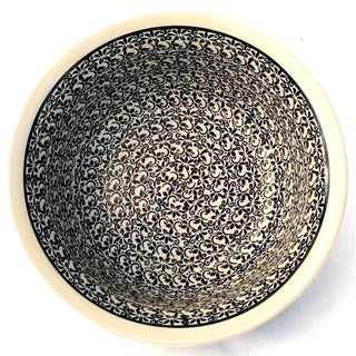 Black and White Floral Polished Stoneware Bowl (Poland)
