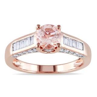 Miadora 14k Rose Gold 1/2ct TDW Diamond Morganite Ring (G-H, I1-I2)