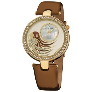 Akribos XXIV Ladies Parrot Dial Genuine Leather Strap Watch