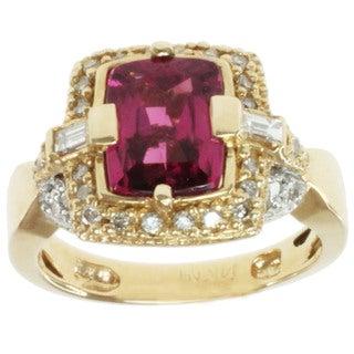 Michael Valitutti 14k Yellow Gold Pink Rubelite and Diamond Ring