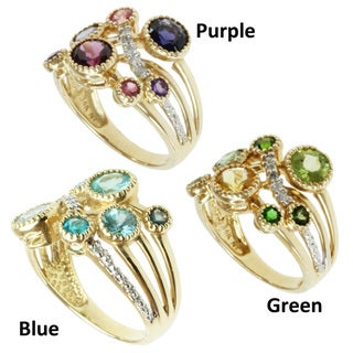 Michael Valitutti 14k Yellow Gold Choice of Multi-gemstone and Diamond Ring