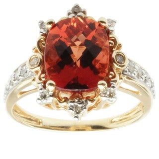 Michael Valitutti 14k Yellow Gold Cushion-cut Ruby Sunstone and Diamond Ring