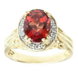 Michael Valitutti 14k Yellow Gold Ruby Sunstone and Diamond Ring