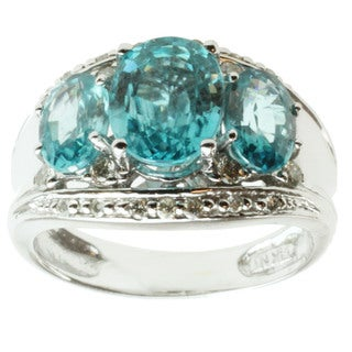 Michael Valitutti 14K White Gold Oval-cut Blue Zircon and Diamond Ring