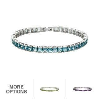Oravo Sterling Silver Princess-cut Gemstone Tennis Bracelet