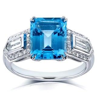 Annello 14k White Gold Blue Topaz and 3/4 ct TDW Diamond Ring (H-I, VS1-VS2)