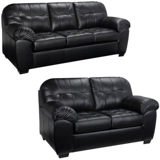 Emma Black Italian Leather Sofa and Loveseat