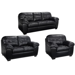 Emma Black Italian Leather Sofa, Loveseat and Chair