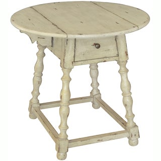 Hand Painted Distressed Antique Cream Finish Accent Table