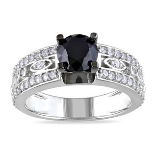 Miadora Sterling Silver Round-cut Black Spinel and White Sapphire Ring